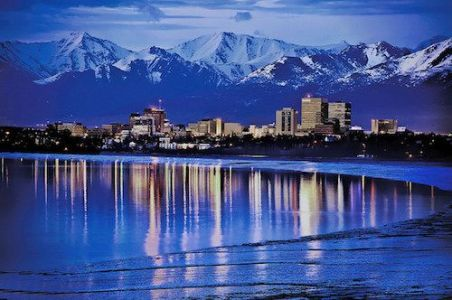 Anchorage Alaska at night